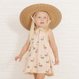 Rylee & Cru   Throwback Swans Layla Dress - Soft Peach