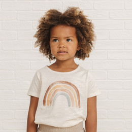 Rylee & Cru   Throwback Rainbow Basic Tee - Ivory
