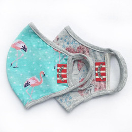 Paper Wings     Double Layer Organic Cotton Jersey Face Masks - Flamingos & Swans (2-7 Years)