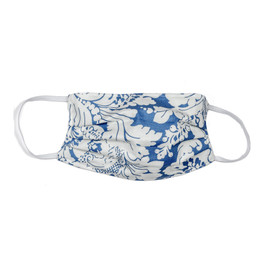Haute Baby Double Layer Pleated Cotton Face Mask - Blue Damask