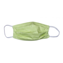 Haute Baby Double Layer Pleated Cotton Face Mask - Lime Scallops