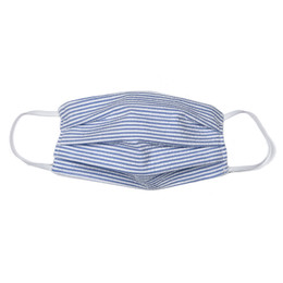 Haute Baby Double Layer Pleated Cotton Face Mask - Blue Seersucker Stripe