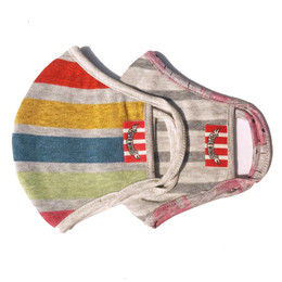 Paper Wings     Double Layer Organic Cotton Jersey Face Masks - 2 PACK! - Rainbow Stripes & Grey Stripes - Kids (2-7 Years)