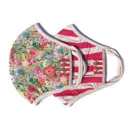 Paper Wings     Double Layer Organic Cotton Jersey Face Masks - Flowers & Stripes  (8 years & up)