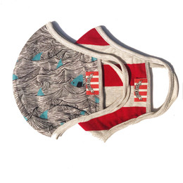 Paper Wings     Double Layer Organic Cotton Jersey Face Masks - Sharks & Red Stripes (8 years & up)