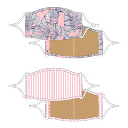 Shade Critters Face Masks w/Filter Pockets - Tropical Flora & Pink Stripe (4-12 Years)