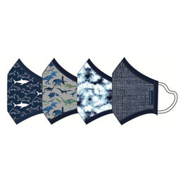 Andy & Evan 3 Layer Cotton Face Masks w/Filter Pockets - 4 PACK! - Boy Child Mix 2 (2-6 Years)