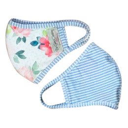 Be Girl Clothing      Double Layer Reversible Face Mask - Floral / Blue Stripe