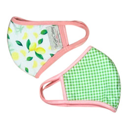 Be Girl Clothing     Double Layer Reversible Face Mask  - Lemon / Green Check