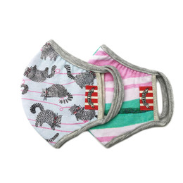 Paper Wings      Double Layer Organic Cotton Jersey Face Masks - Cats & Stripes (2-7 Years)