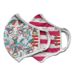 Paper Wings      Double Layer Organic Cotton Jersey Face Masks - Robin Floral & Stripes (2-7 Years)