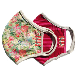 Paper Wings      Double Layer Organic Cotton Jersey Face Masks - Flowers & Bold Stripes (8 years & up)