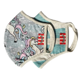 Paper Wings      Double Layer Organic Cotton Jersey Face Masks - Unicorns & Blue Stripes (8 years & up)