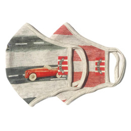 Paper Wings      Double Layer Organic Cotton Jersey Face Masks - Cars & Stripes (2-7 Years)