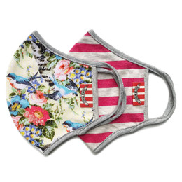 Paper Wings      Double Layer Organic Cotton Jersey Face Masks - Mixed Garden & Stripes (8 years & up)