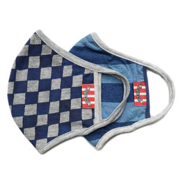 Paper Wings      Double Layer Organic Cotton Jersey Face Masks - Blue Checkered & Stripes (8 years & up)