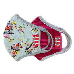 Paper Wings      Double Layer Organic Cotton Jersey Face Masks - Robins & Bold Stripes  (2-7 Years)