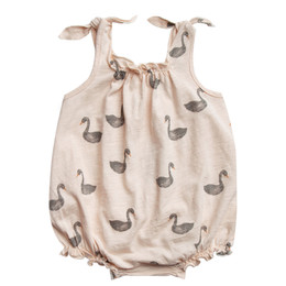 Rylee & Cru  Throwback Swans Tie Onesie - Soft Peach