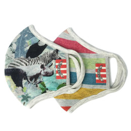 Paper Wings      Double Layer Organic Cotton Jersey Face Masks - 2 PACK! - Tropical Zoo & Multi Stripes - Kids (2-7 Years)