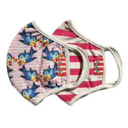 Paper Wings       Double Layer Organic Cotton Jersey Face Masks - Bluebirds & Pink Stripes - Kids (2-7 Years)