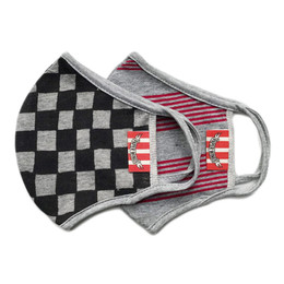 Paper Wings      Double Layer Organic Cotton Jersey Face Masks - 2 PACK! - Black Checkered & Retro Stripes - Kids (2-7 Years)