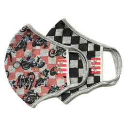 Paper Wings       Double Layer Organic Cotton Jersey Face Masks - 2 PACK! - Motorcycles & Black Checkered - Tweens/Adults (8 Years & Up)