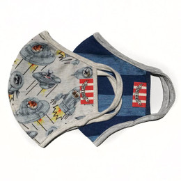 Paper Wings       Double Layer Organic Cotton Jersey Face Masks - 2 PACK! - Dogs In Space & Blue Stripes - Kids (2-7 Years)