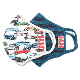 Paper Wings      Double Layer Organic Cotton Jersey Face Masks - 2 PACK! - Vintage Cars & Dark Stripes - Kids (2-7 Years)