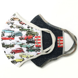 Paper Wings      Double Layer Organic Cotton Jersey Face Masks - 2 PACK! - Vintage Cars & Charcoal - Tweens/Adults (8 years & up)