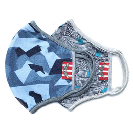 Paper Wings      Double Layer Organic Cotton Jersey Face Masks - 2 PACK! - Blue Camo & Sharks - Tweens/Adults (8 years & up)
