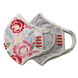 Paper Wings      Double Layer Organic Cotton Jersey Face Masks - 2 PACK! - Vintage Tattoo Floral & Pink Stars - Tweens/Adults (8 years & up)
