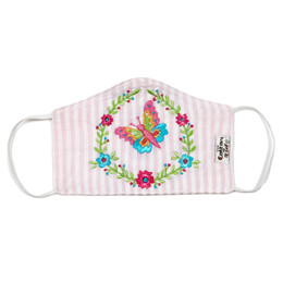 Cotton Kids Double Layer Cotton Embroidered Face Mask w/Filter Pocket - Butterfly
