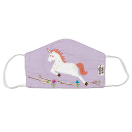 Cotton Kids Double Layer Cotton Embroidered Face Mask w/Filter Pocket - Unicorn