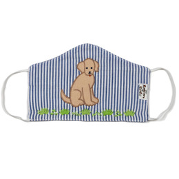 Cotton Kids Double Layer Cotton Embroidered Face Mask w/Filter Pocket - Dog