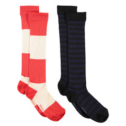 Molo     Norvina Socks - 2 pack! - Orange Stripe & Black Stripe