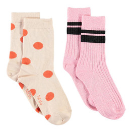Molo Nomi Socks - 2 pack! - Orange Dot & Pink