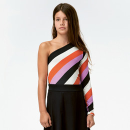 Molo     Ravonda One-Shoulder Top - Diagonal Stripe