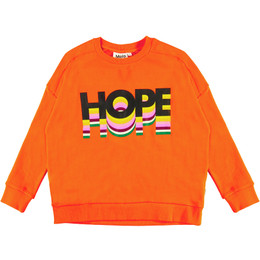 Molo     Mandy Hope Rainbow Organic Sweatshirt - Signal Orange