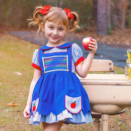 Evie's Closet    Back To School Apple Pocket Dress