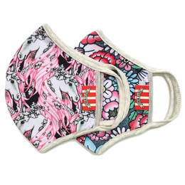Paper Wings       Double Layer Organic Cotton Jersey Face Masks - 2 Pack! - Unicorns & Tattoo Floral - Tweens / Adults (8 years & up)