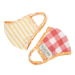 Be Girl Clothing     Double Layer Reversible Face Mask - Boho Rust Check & Gold Stripe