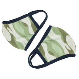 Be Girl Clothing      Double Layer Reversible Face Mask - Green Camo w/Navy Binding (Boy)