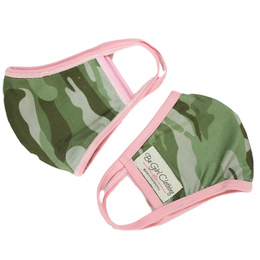 Be Girl Clothing      Double Layer Reversible Face Mask - Green Camo w/Pink Binding