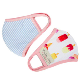 Be Girl Clothing     Double Layer Reversible Face Mask - Popsicles & Blue Stripe