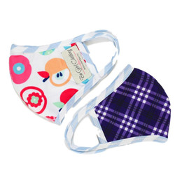 Be Girl Clothing     Double Layer Reversible Face Mask - Back To School Apples & Check