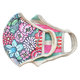 Paper Wings         Double Layer Organic Cotton Jersey Face Masks - 2 Pack! - Tattoo Floral & Pink/Mint Stripe - Kids (2-7 Years)