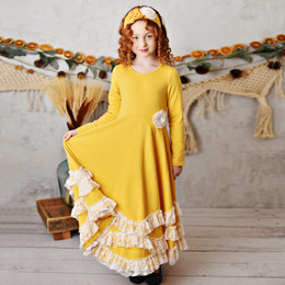 Serendipity Clothing    Harvest Fields 3pc Butterscotch Maxi Twirl Dress w/Lace Trim, Rosette Clip & Headband