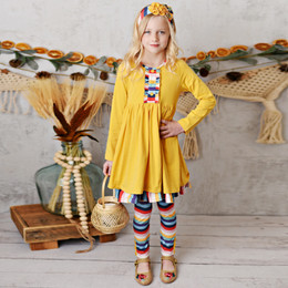 Serendipity Clothing    Harvest Fields 3pc Butterscotch Stripe Dress, Stripe Legging, & Headband