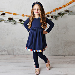 Serendipity Clothing    Harvest Fields 3pc Navy Stripe Dress, Legging, & Headband