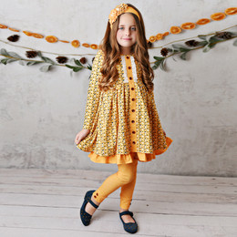 Serendipity Clothing    Harvest Fields 3pc Butterscotch Bloom Dress, Dot Legging, & Headband